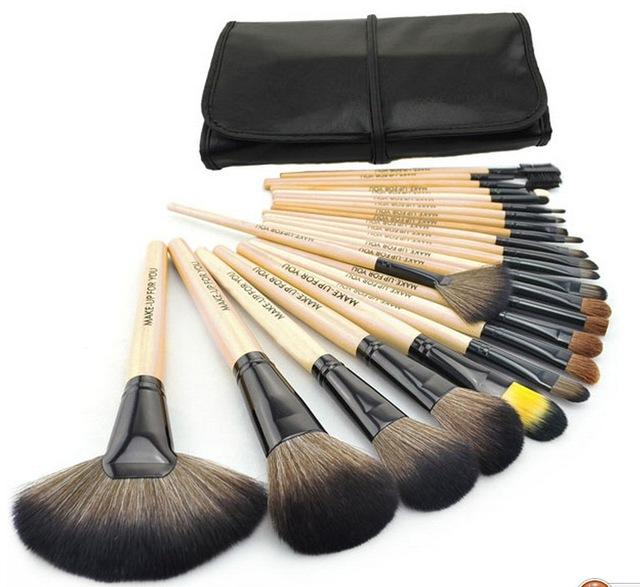 Nueva! 24 unids maquillaje profesional Kit del cepillo del maquillaje pinceles Sets cosmética cepillos y y buena calidad de cuero de la PU