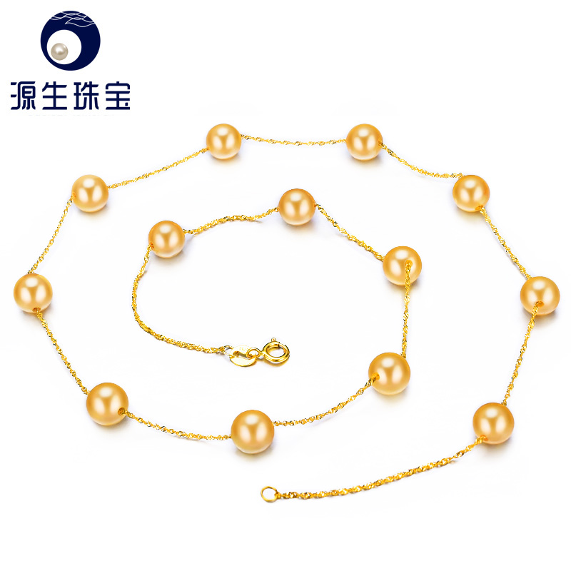YS 18K Solid Gold Real Japanese Akoya 6 6 5mm Pearl 45cm Chain Necklace Anniversary Fine