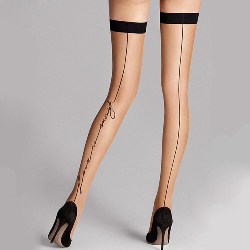 Fashion Women Over Knee Socks Thigh High Sexy Love Letter Tattoo Princess Knee High Long Stocking