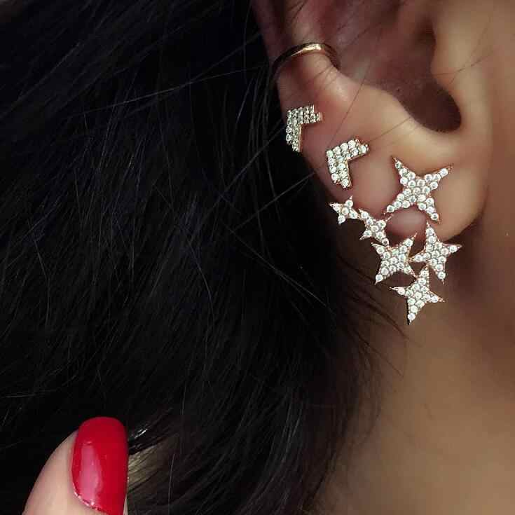 Infery 2019 Fashion Vintage Earring Punk Creative Simple Design Crystal Star Stud Earrings For Women Jewelry Gift 1E585