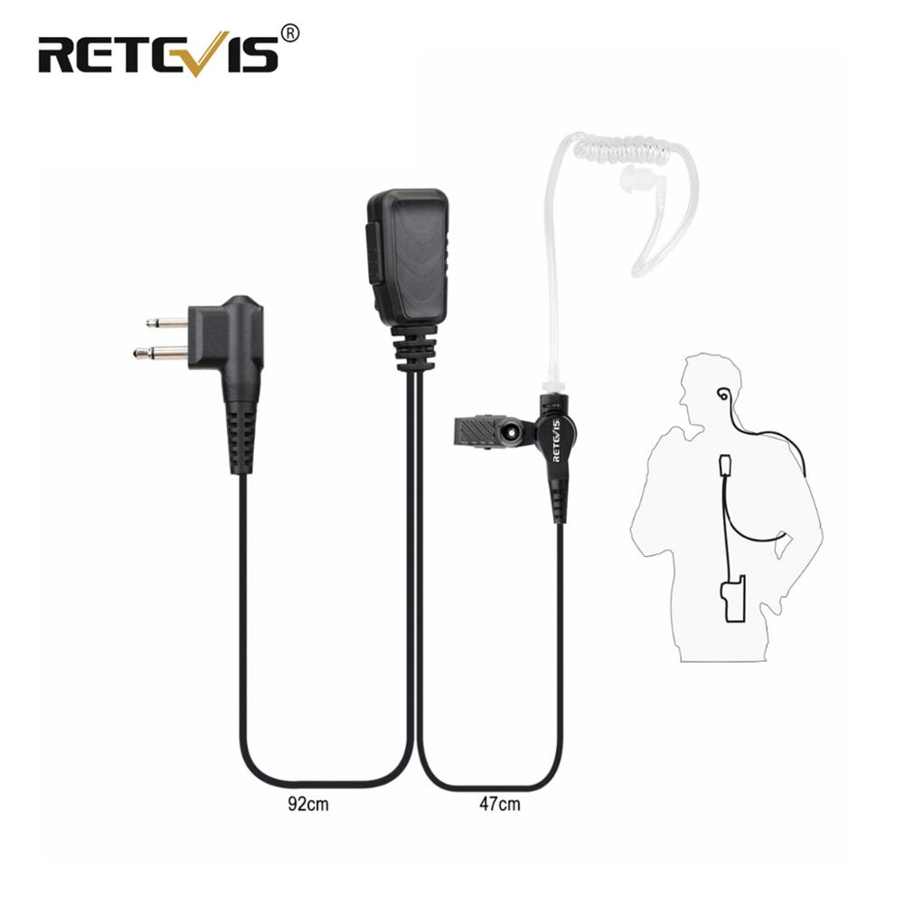New Retevis EA090M Dual-line PTT Mic Air Tube Acoustic Earpiece Walkie Talkie Headset  For Motorola 2Pin Two Way Radio C9064A
