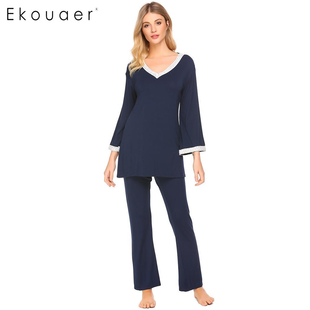 Ekouaer Women   Pajamas     Set   Long Sleeve Sleepwear V-Neck Lace Casual Nightwear Blouse With Loose Pants   Pajama     Set   Female Nighties