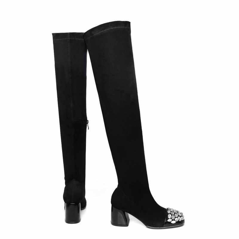 MORAZORA ใหม่มาถึงหนังนิ่มหนังต้นขาสูงรองเท้าผู้หญิงฤดูใบไม้ร่วงยืดเข่ารองเท้าสีดำรองเท้าแฟชั่นผู้หญิง