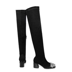 Image 2 - Morazora 2020 Nieuwe Faux Suède Dij Hoge Laarzen Voor Vrouwen Herfst Stretch Over De Knie Laarzen Zwarte Mode Lange Botas vrouw