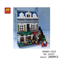 LELE 30007 Creator Expert City Street Parisian Restaurant Model Building Kit Figures Set Blocks Fun Toys