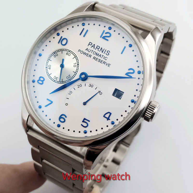Parnis 43mm white dial date power reserve Automatic Self-Wind Mechanical movement men's watch Mechanical watches