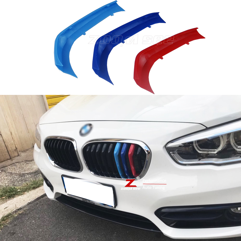 lowest price For BMW 1 series F20 F21 Accessories Auto Front Grille Trim Sport Stripes Grill M Performance Strips Clip Cover Stickers