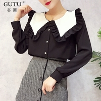 GUTU 2018 Spring New Pattern Women Top Stitching Ruffle Side Decoration Blouse Full Sleeve O