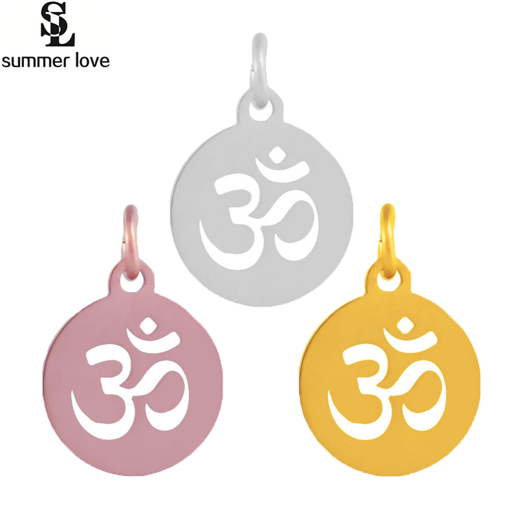 Stainless Steel Om Yoga Religious Charms Sign Metal Round Charms For DIY Handmade Sanskrit Jewelry Making 3 Style
