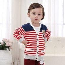Демисезонный полосатый медведь кнопку свитер Вязание Обувь для мальчиков Куртки кардиган для маленьких детей пальто Детская верхняя одежда coaty1347