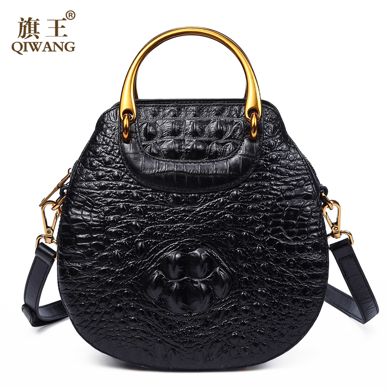 Brand Design Cowhide Women Stylish Shoulder Bag 100% Genuine Leather Crocodile Pattern Cross Body Top Handle Bag stylish women s tote bag with clip closure and crocodile print design