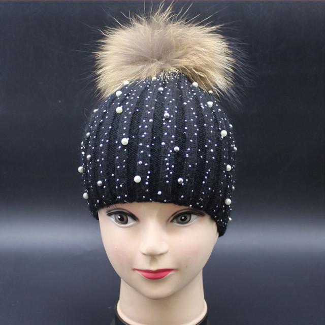 [Oda A la Alegría] Las Mujeres de lana de invierno sombrero femenino sombreros de punto skullies gorros con pompón de piel de conejo de diamante real sólido nueva moda