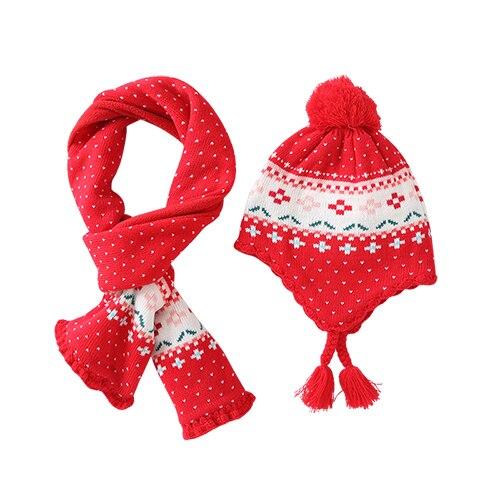 Новые зимние толстые детские шляпа милый цветок красный шапка+ шарф теплую шапку для девочек детей Рождественский подарок фото реквизит BMZ86 - Цвет: Hat And Scarf