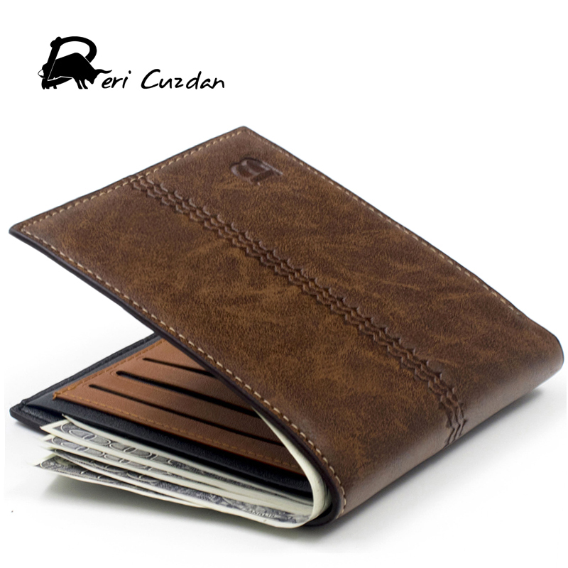 DERI CUZDAN New 2017 Wallets Men PU Leather Wallet Slim Pouch Fashion Wallet Black Short Vintage Wallet Male Clutch Purse Brown туфли deri