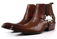 Grande tamanho EUR45 moda marrom tan/preto apontou toe ankle boots mens sapatos casuais genuína botas de couro da motocicleta com fivela