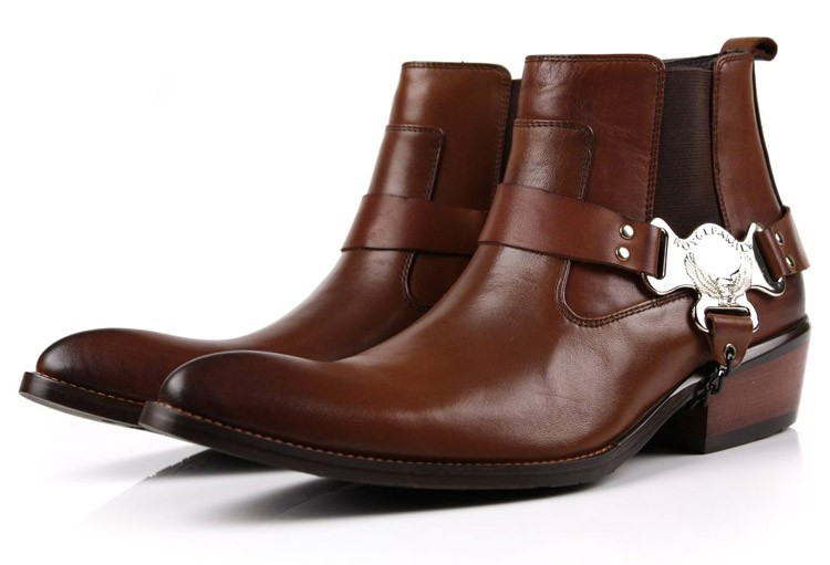 Large size EUR45 fashion brown tan/ black pointed toe mens ankle boots casual shoes genuine leather motorcycle boots with buckle cool mens ankle boots with rivets casual motorcycle boots mens genuine leather shoes mens winter shoes black business boots
