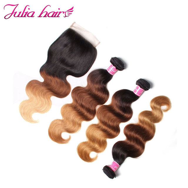 Julia Hair Ombre Bundles With Closure Brazilian Body Wave Human Hair Bundles With Closure 4*4 Lace Free Part Remy Hair 3