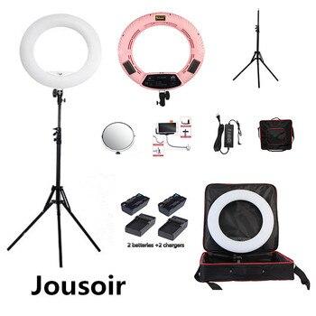 Pink FS-480II Bio-color adjustable beauty salon make up 48W Ring Light LED Lamp+ 2M stand +Bag + batteries Kit CD50