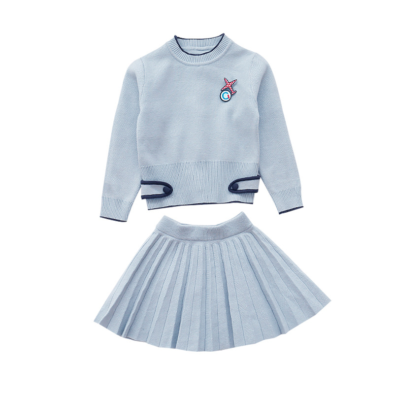 Girls Solid Sweaters & Skirts 2Pcs For Girls Clothing Sets Teens Pink Long Sleeve Cute Suit Knitted 2018 Kids Clothes Sets4-12Y jenni new pink solid ruffled chemise l $39 5 dbfl