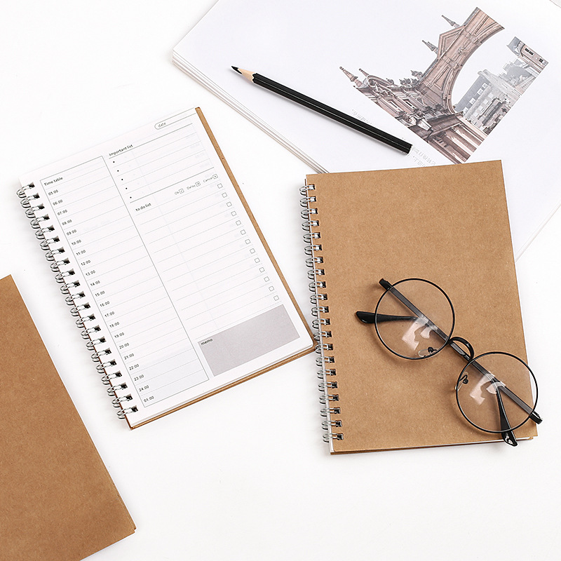3 pcs/lot Simple Leather Book Creative Timetable Day Plan Student Handbook Notepad Handbook Leather Coil Book it ethics handbook