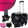 Maquillaje profesional cosméticos cajas de gran multi-caster carro de equipaje maleta de almacenamiento de cosméticos de corea kit