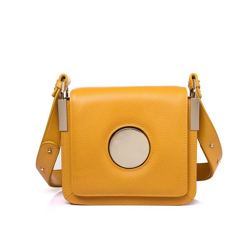 جلد طبيعي 2019 جديد النساء كيس صغير بلون حقيبة كتف أزياء السيدات صغيرة صندوق مربع الربيع الصيف حقيبة كتف-في حقائب الكتف من حقائب وأمتعة على  مجموعة 1