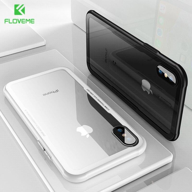 FLOVEME Caixa Do Telefone Para o iphone 11 X Xs Xr 8 7 6s 6 9H Temperado Borda de Silicone Macio vidro de Volta Caso Para o iphone Xs Max 8 7 6 6s Plus