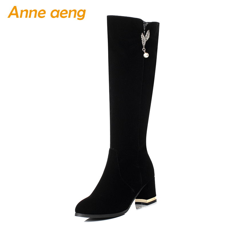 2018 New Winter Women Knee-High Boots High Heel Round Toe Zipper Metal Decoration Elegant Sexy Ladies Women Shoes Black Boots