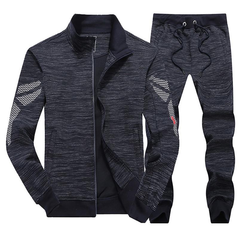 Hommes 2019 printemps course Fitness Sport costume 100% coton confort Jogging en plein air ensemble Sport vêtements course ensemble mâle survêtement