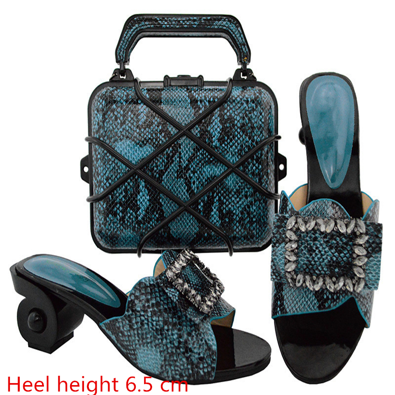 GL02 Blue Newest Style African Matching Shoes And Bag Set Hot Selling European Ladies Slipper And Bags Sets Free Shipping doershow latest african matching shoes and bag set beautiful design european ladies slipper and bags sets free shipping sgf1 45