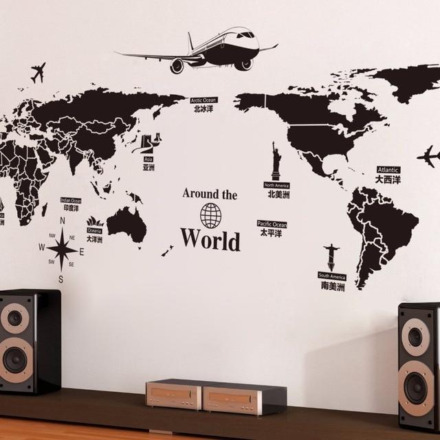 WHISM Grande 130x170 Cm Mappa Del Mondo Murale Decorazioni Per Parete  Soggiorno Camera Da Letto Della