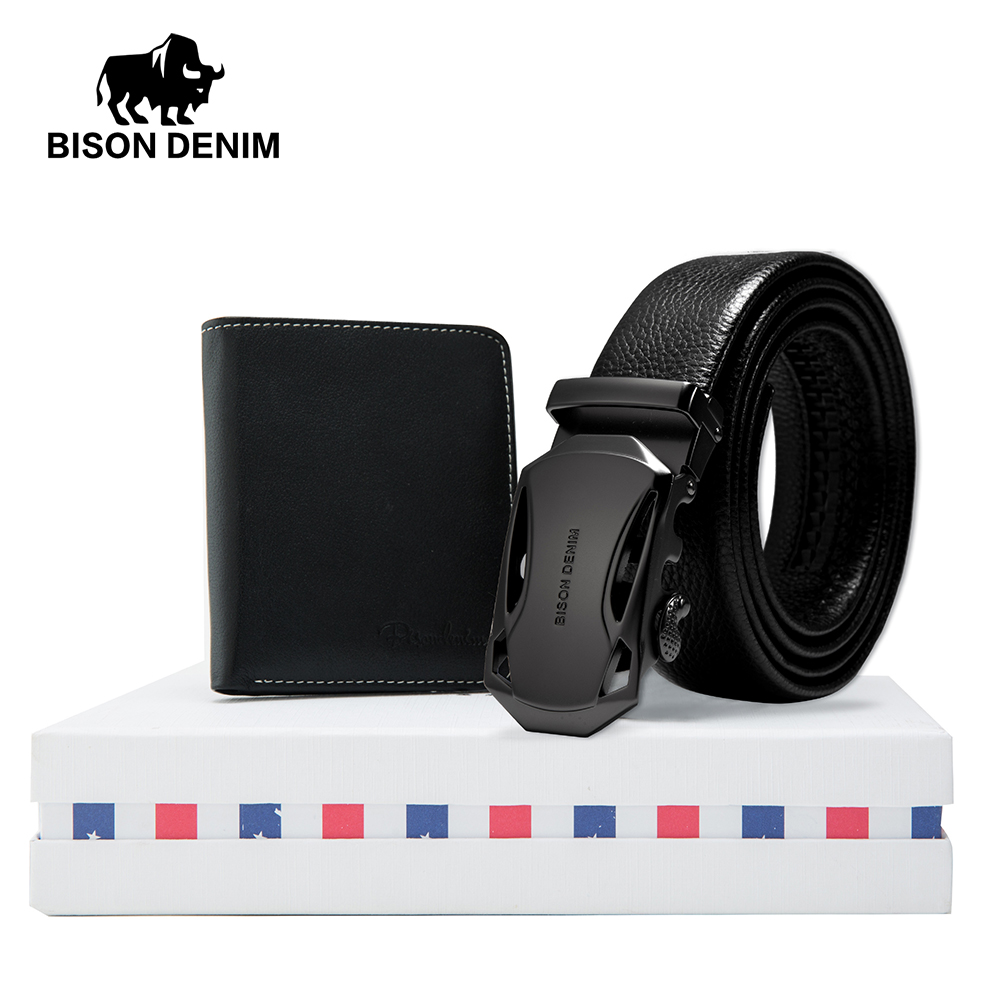 Apparel Accessories Hard-Working Bison Denim Mens Belt Gift Box With Hot Sale Mini Wallet Genuine Leather Friend Father Husband Automatic Belts Purse Set N71314