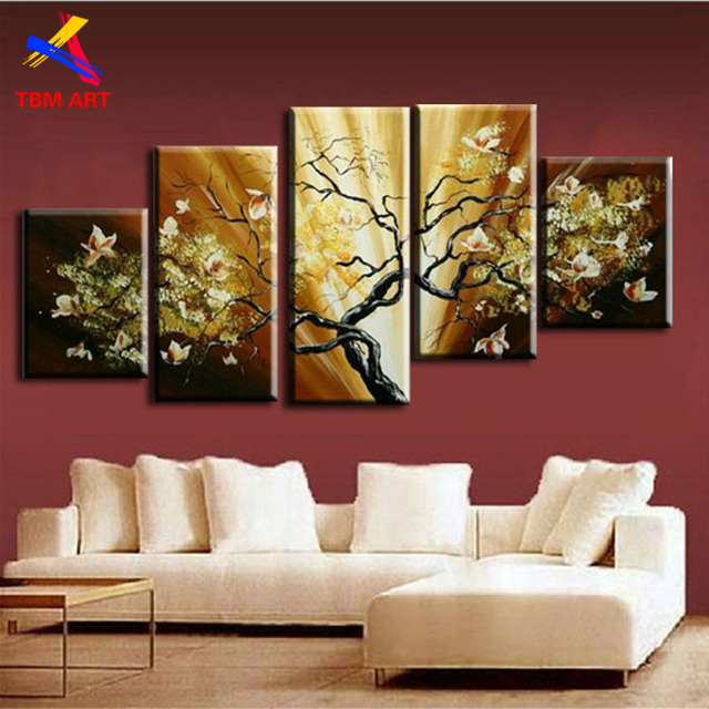5Panels Canvas Set Painting The Flowers In Blossom   Real Handmade Modern Abstract  Oil Painting On Canvas Wall Art ,Gift Z040