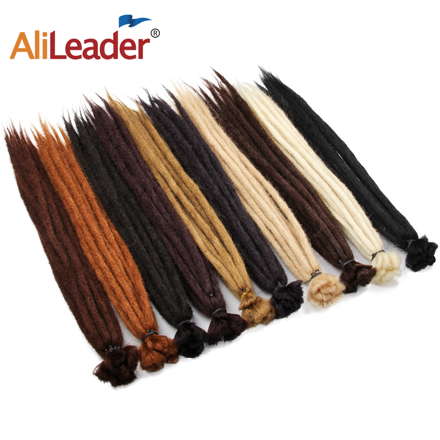 AliLeader 20 Inch Handmade Dreadlocks Hair Extensions Synthetic Crochet Braid Hair For Women Brown Crochet Hair 1root/pack