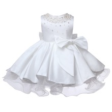 Baby Girl Wedding Dress White Tulle Beads Big Bow Baptism Christening Gown Pageant Dress Princess Party 1 Year Birthday Clothes