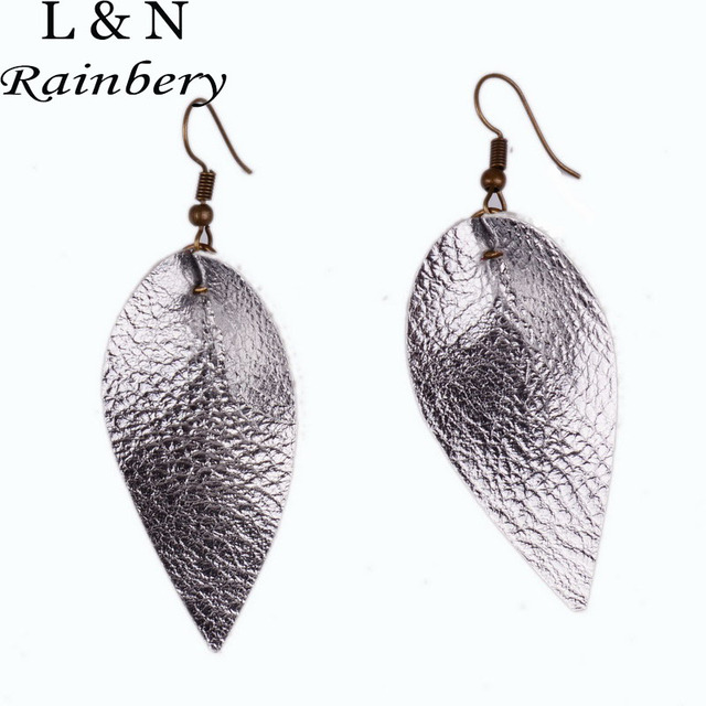 Rainbery New Teardrop Leather Earrings Antique Looking Various Multicolors Long Pendants Bohemia Dangle Je0602