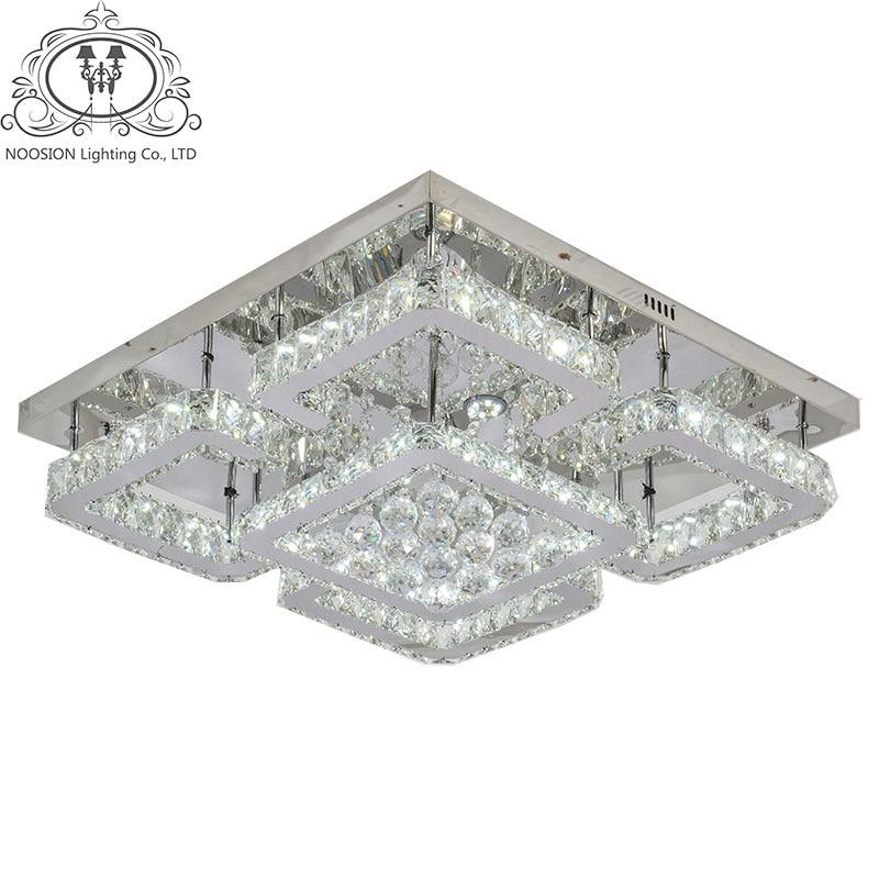 NOOSION Ceiling Lamp Crystal Led Modern Lampen Square Lustre Luminarias Dining Room Deckenleuchten De Cristal Livingroom