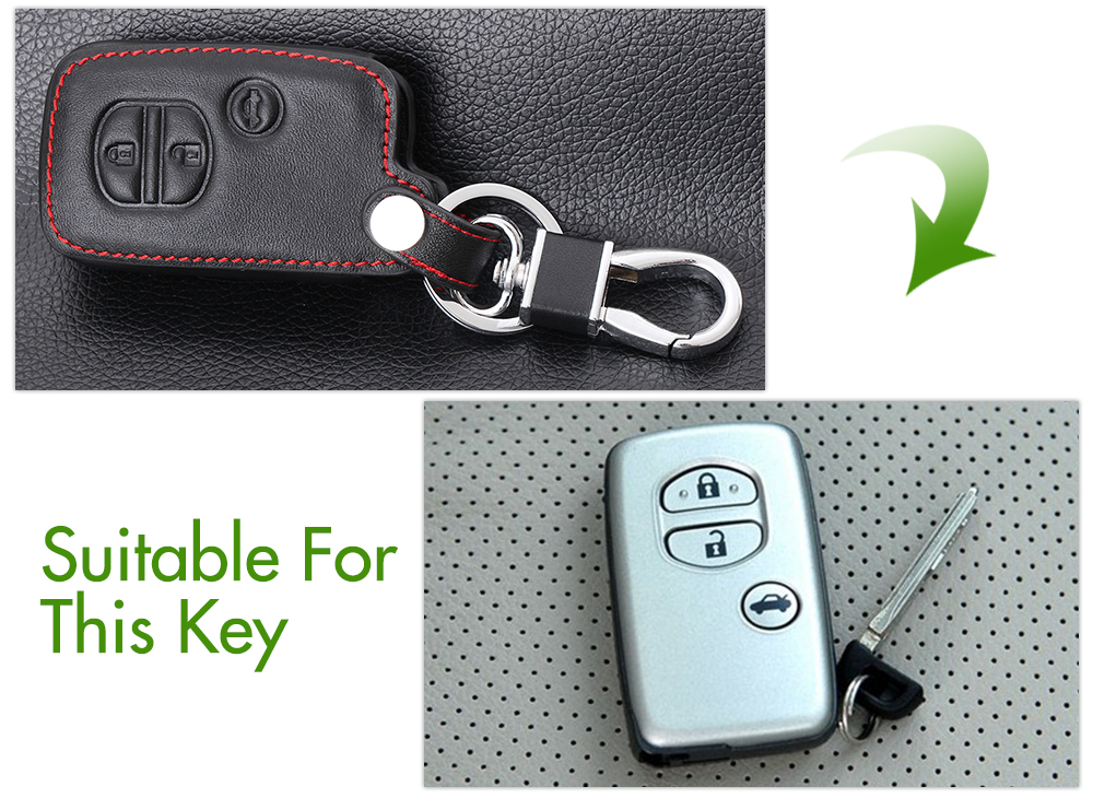 Image 5 - Genuine Leather Remote Control Car Keychain Key Cover Case For Toyota Camry Crown RAV4 Corolla Prado Prius 3 Buttons Smart Key-in Key Case for Car from Automobiles & Motorcycles