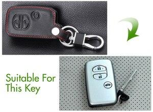 Image 5 - עור אמיתי שלט רחוק רכב Keychain מפתח כיסוי מקרה עבור טויוטה קאמרי כתר RAV4 קורולה פראדו פריוס 3 לחצנים חכמים מפתח