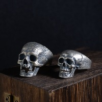 FNJ 925 Silver Skull Ring New Punk Skeleton S925 Sterling Thai Silver Rings for Men Jewelry USA Size 8 10.75