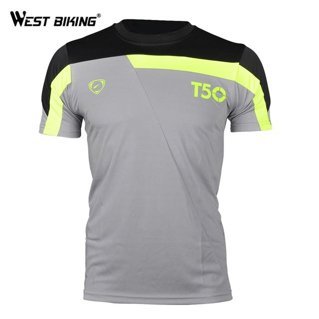 WEST BIKING Correndo Ciclismo Jerseys Camisetas Camisa Esporte de Verão  Respirável de Secagem rápida Camisas De 4514b41ae05ed