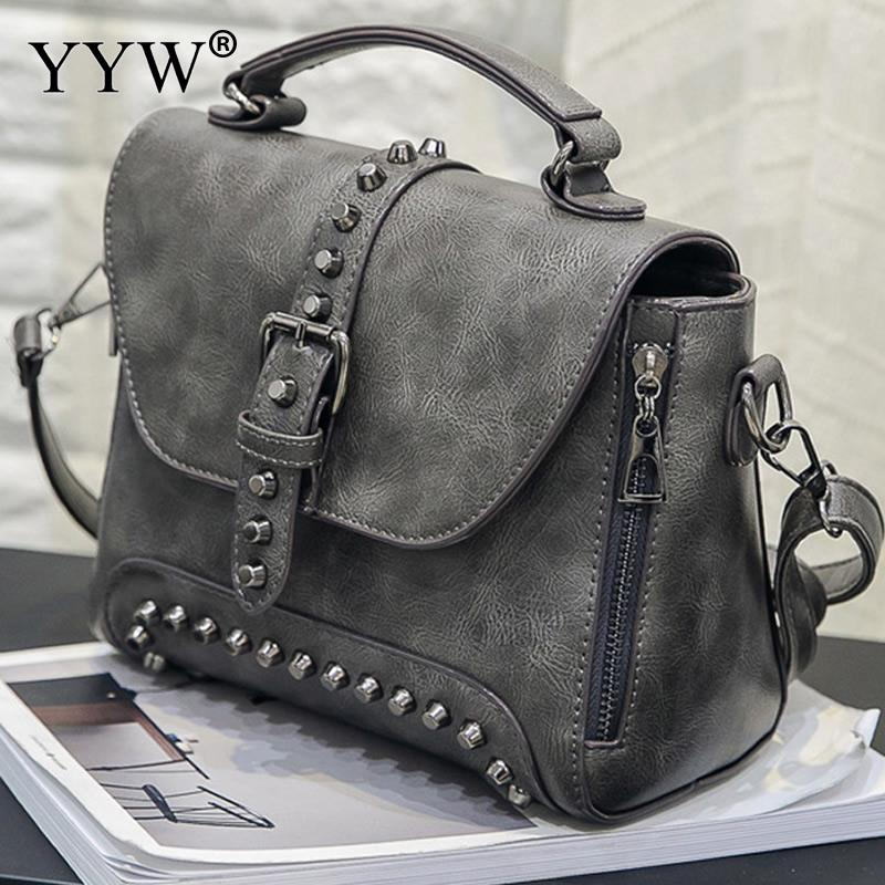 Brand Luxury Women's PU Leather Handbags Vintage Tote Bag for Women New Top-Handle Bags with Rivet Famous Lady's Crossbody Bag hot sale 2016 france popular top handle bags women shoulder bags famous brand new stone handbags champagne silver hobo bag b075
