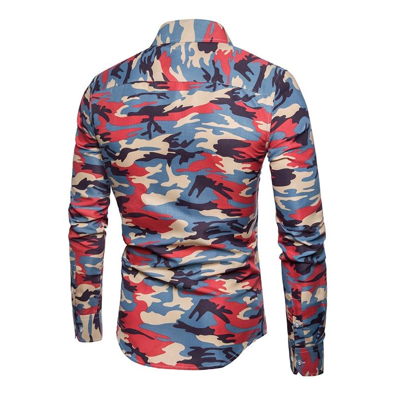 Legere Hemden Vereinigt Männer Der Hemd Revers Langarm Camouflage Druck Casual Front Taste Für Business Party Bs88
