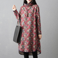 Ladies Fleece Lining Thicken Warm Jumper Dress Ladies Plus Size Long Sleeve Loose Tunic Lady voguee Turtleneck Floral Pullover