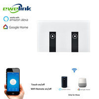 Ewelink US Type 2 Gang Wall Light Smart Switch Touch Control Panel Wifi Remote Control Via