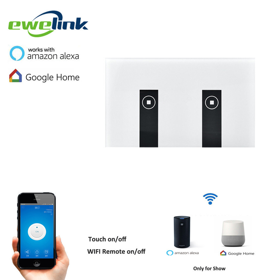 Ewelink US Type 2 gang wall light smart switch, touch control panel, wifi remote control via smart phone,work with Alexa/Ewelink us standard ewelink remote control switch 3 gang 1 way rf433 smart wall switch wireless remote control touch light switch