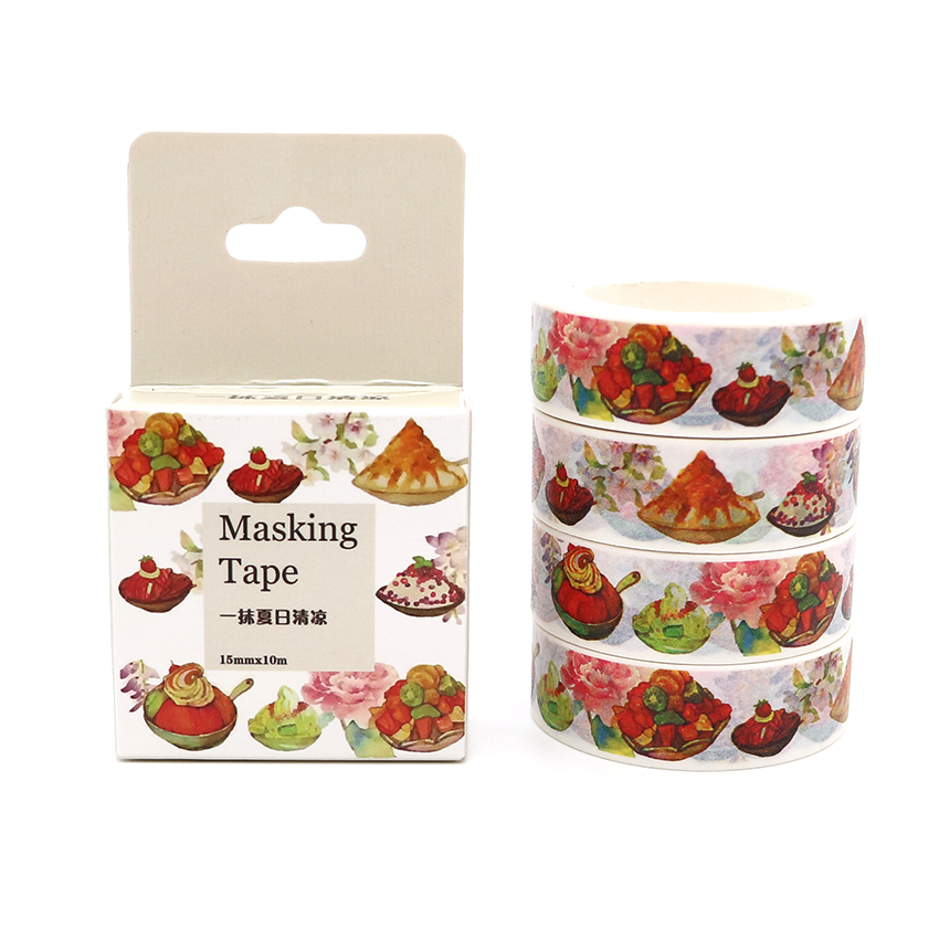 Box Package Summer Cool Food Washi Tape Masking Tape Decorative Scrapbooking Office Adhesive DIY Sticker Label Tape 10m*15mm