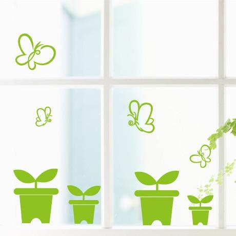 Spring small saplings mother preschool kindergarten decorative glass wall stickers window stickers window grilles paper in wall stickers from home garden