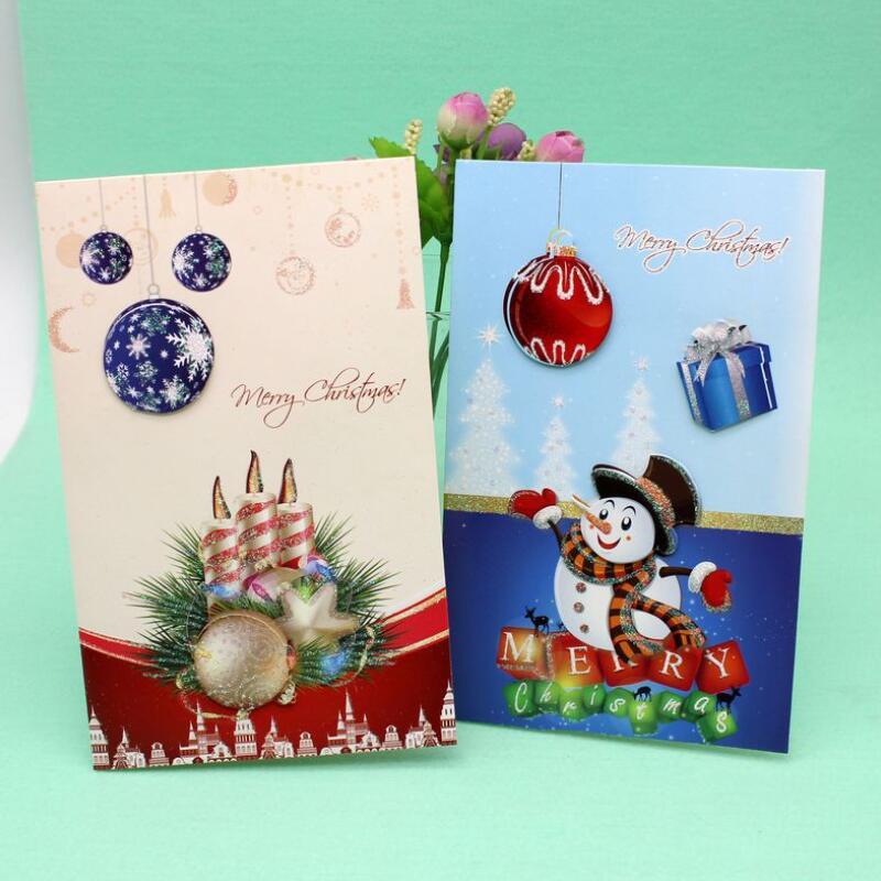 Custom Merry Christmas Greeting Cards: 8 Pcs/lot 3D Handmade Christmas Greeting Card With