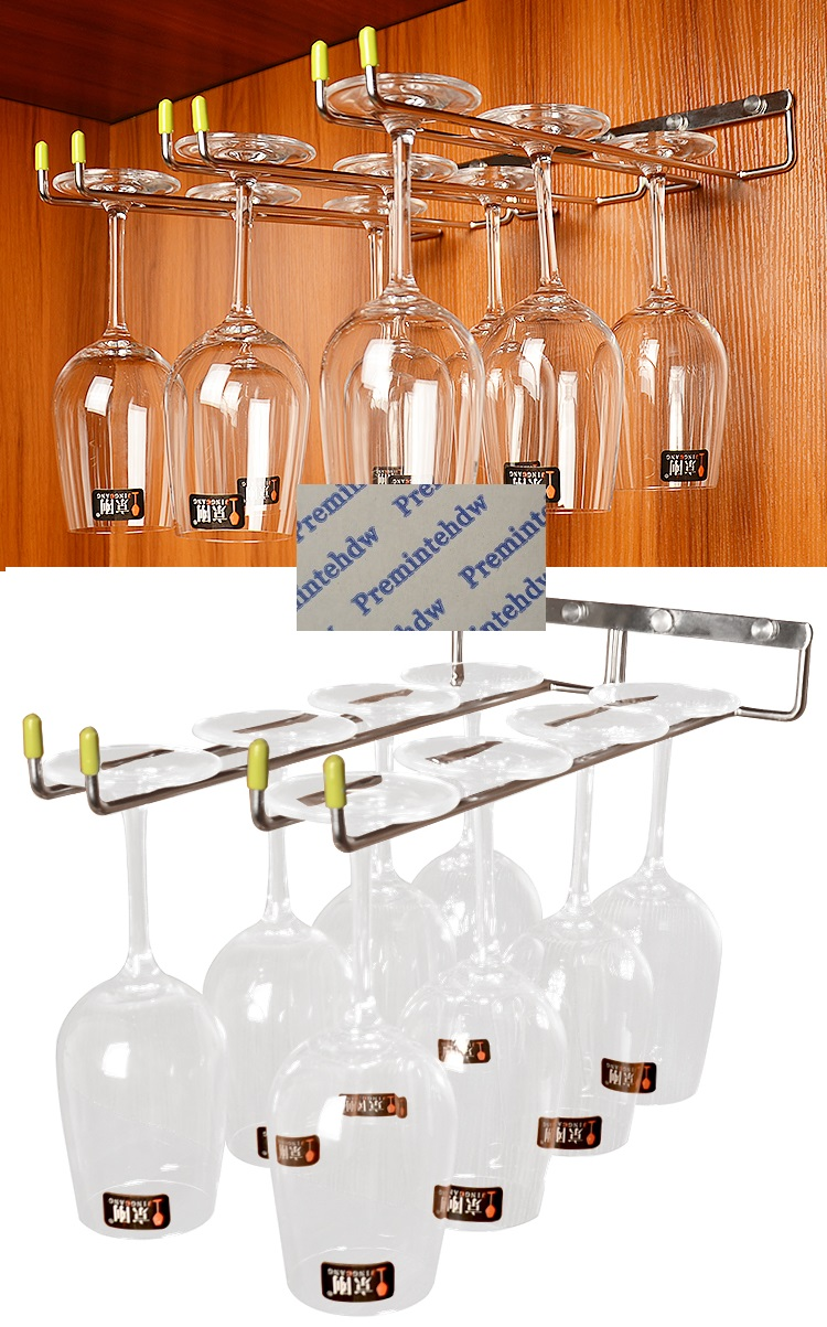 SUS304 Wall Side Mount Cupboard Cabinet Wine Glass Rack Stemware Holder Hanger Single Double Row Goblet Tallboy Standing Cup